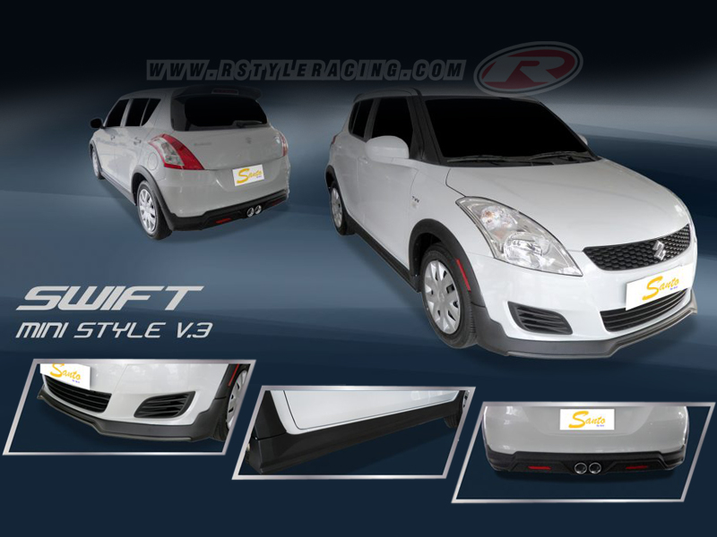 Body Kit Mini V 3 Style For Suzuki Swift Matte Black Color Rstyle Racing